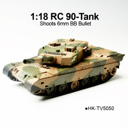 1/18 Scale RC 90-Tank, Shoots 6mm BB Bullet