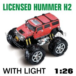 1:26 escala rc con licencia de coches hummer h2 con luces led de color rojo