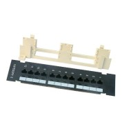 Wall-Mount Cat5e Patch Panel, 12 port, 568B, RJ45 Ethernet