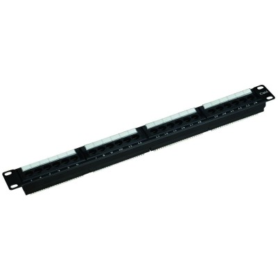 CAT6 24-Port  Patch Panel, Universal Wiring T568A/B 1U, Black