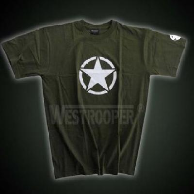 WHITE US STAR SHIRTS IN OLIVE
