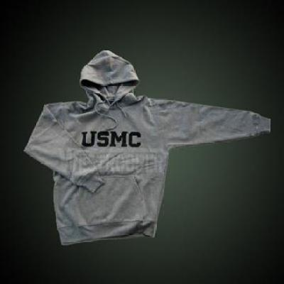 USMC HOODED SWEATSHIRT GRAY