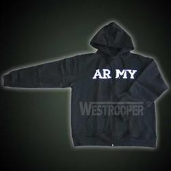 ARMY HOODED SWEATSHIRT BLACK WITH ZIP
