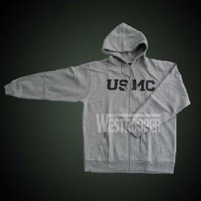 USMC HOODED SWEATSHIRT GRAY with zip