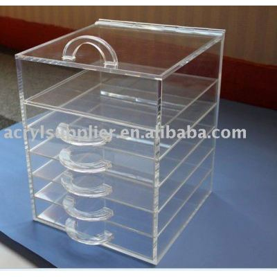 clear acrylic drawers makeup organizer with lid