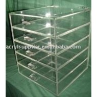 Perspex storage with 5 drawer