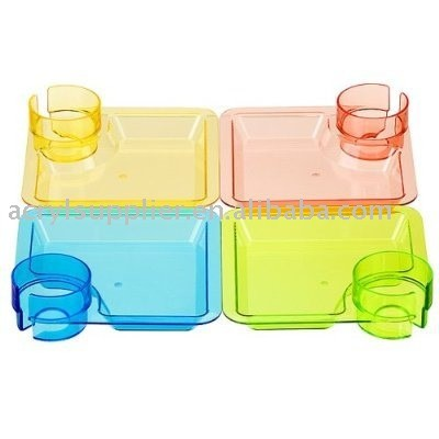 Party Pal Acrylic Party Plates with Drink Holder in any Colors
