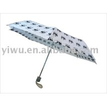 White and Black Three Fold Umbrella