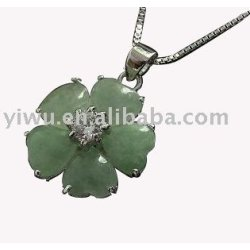 snow flower 925 Sterling silver jade necklace