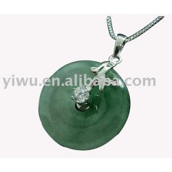 Circle 925 Sterling silver jade necklace