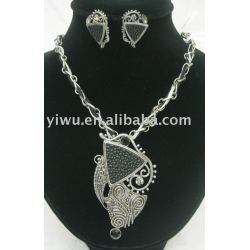 leather silver jewelry set