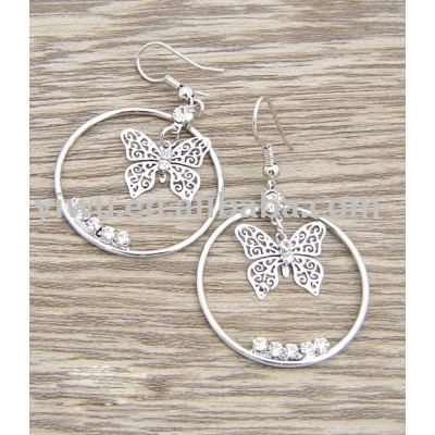 butterfly rhinestone earrings