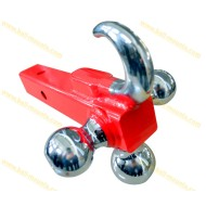 Tri-ball Mount with hook Red powder coated