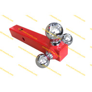 Red Tri-Ball Ball Mount (solid shank) w/Chrome Hitch Balls