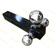Tri-Ball Ball Mount (solid shank) w/Chrome Hitch Balls