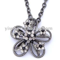 flower shaped gunblack pendant