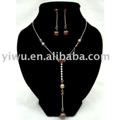 crystal stone pearl jewelry set