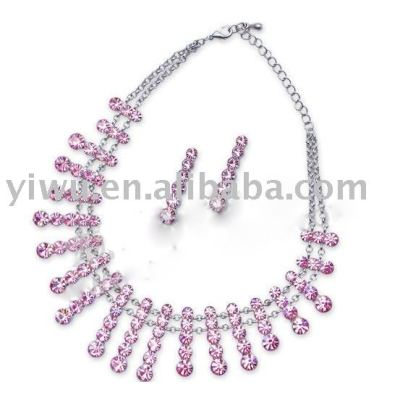 pink crystal stone jewelry set