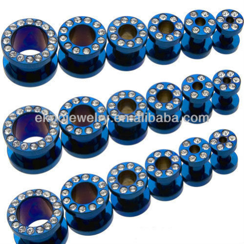 Clear Gem Paved Steel Blue Anium Anodized Ear Tunnel 1 6mm 8mm Mixed Sizes Piercing Free Shipping