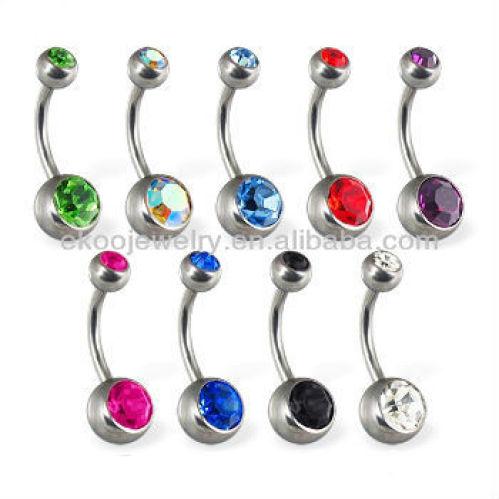 G23 Titanium Body Jewelry Highly Polished Titanium Double Gem Belly