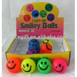 Flashing bouncing ball with smile face
