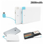 2600mAh Portable Credit Card Power Bank