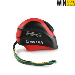 5M leaf blade shape red steel tape measure with rubber with customized logo