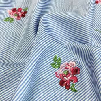 floral embroidered strip fabric