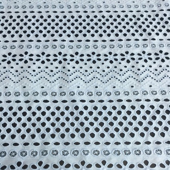 (June.2017)White Cotton Anglaise fabric