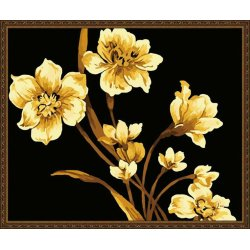wholesales diy paint by numbers golden flower painting yiwu art suppliers flower abstract painting