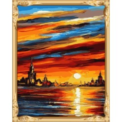 GX 7625 abstract acrylic sunset seascape paintings for home decor