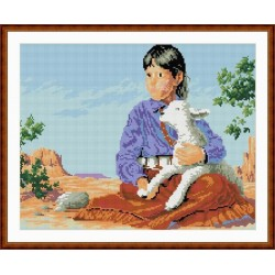 new round diy diamond painting by numbers little girl and animal picture GZ048