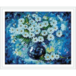 GZ250 abstract flower diamond painting on stretched canvas with wooden frame