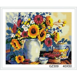 paint boy sunflower diamond painting for wall decor GZ309
