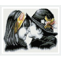 little girl and boy kiss picture kids diamond canvas painting GZ346