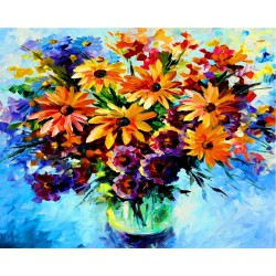 abstract flower daisy square diamond painting for living room decor GZ372