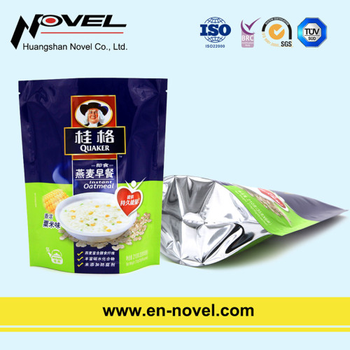 Customized Plastic Stand Up Pouch with Zipper for Oatmeal Packaging