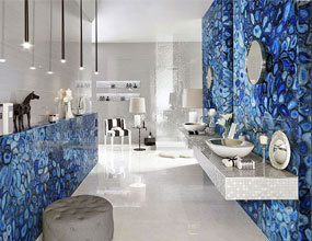 Semi-precious Bule Agate Bathroom Wall Design