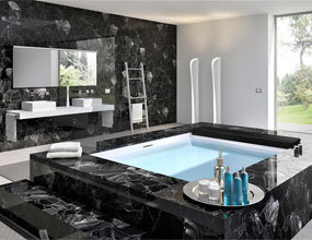 Design luxury Bathroom black obsidian semi-precious stone project