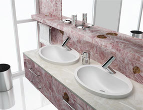 pink quartz gemstone Bathroom Design
