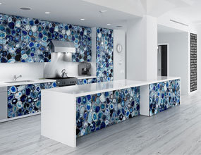 custom Design crystal blue agate kitchen