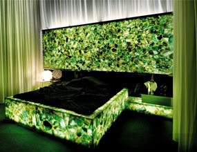 custom translucence Green agate backlit master bedroom project