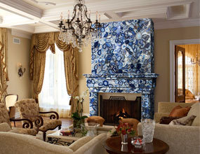 living-blue agate fireplace wall