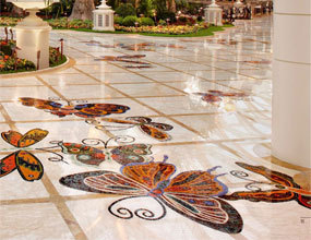 Custom marble flooring butterfly waterjet patterns