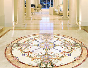 Residential Grand Entrance Waterjet marble flooring
