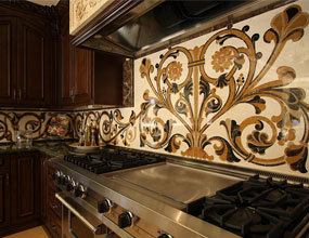 Design home marble waterjet kitchen marble inlay backsplash