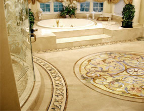 residential_marble waterjet floor bathroom