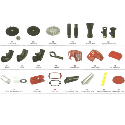 mist duster parts mist blower fan water cover soft tube jet head and elbow water valve impeller cover blade oil switch  fuel tank