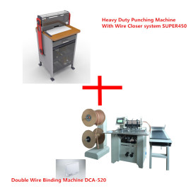 Electric heavy duty punch machine and double wire binding machine(SUPER450&DCA-520)