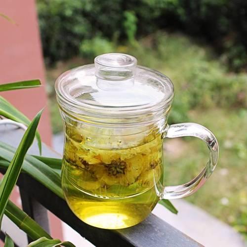 Eleganter hoher Borosilikatglas-Tee-Aufgussbecher